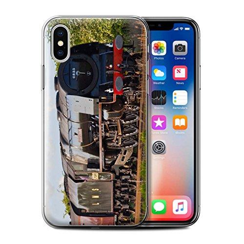 Stuff4 Gel TPU Hülle / Case für Apple iPhone X/10 / Scotsman/Bahnsteig Muster / Dampflokomotive Kollektion Duchess Sutherland