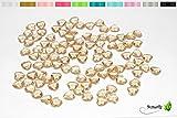 100 Dekosteine HERZEN 1,2 cm ( gold 687 ) // Streudeko Tischdeko Kunststoffherzen Steine PVC Acryl 12mm