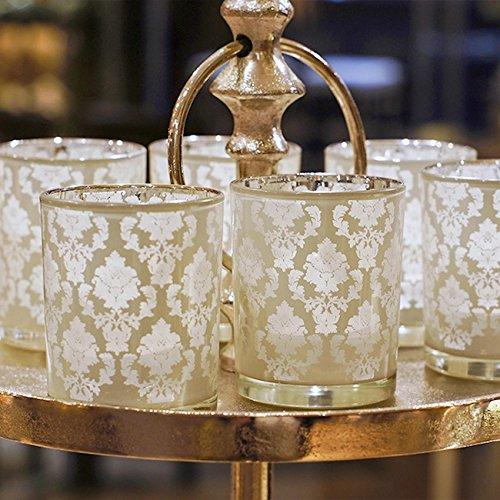 3 Teelichthalter Glas weiß silber mit Ornamenten extravagant