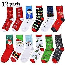 Fascigirl 12 pares de calcetines de navidad Santa Deer Snow Flake Snowman Pattern Algodón para mujeres