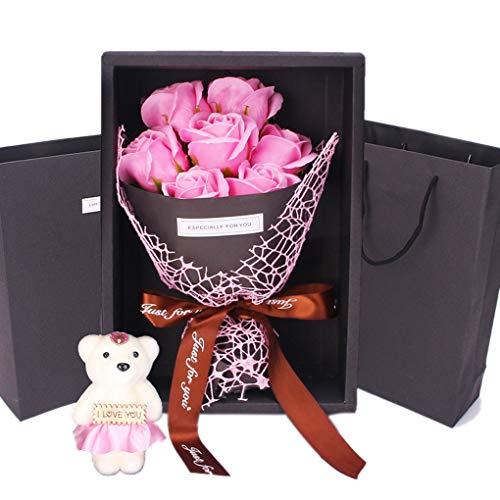 Mengonee Romantischer Valentinstag-Geschenk-Bär-Seifen-Rosen-Blumen Bad Big Petals Weihnachten/Hochzeit/Party-Geschenk-Dekoration