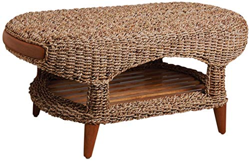AUBRY GASPARD Table Basse en Abaca et Teck