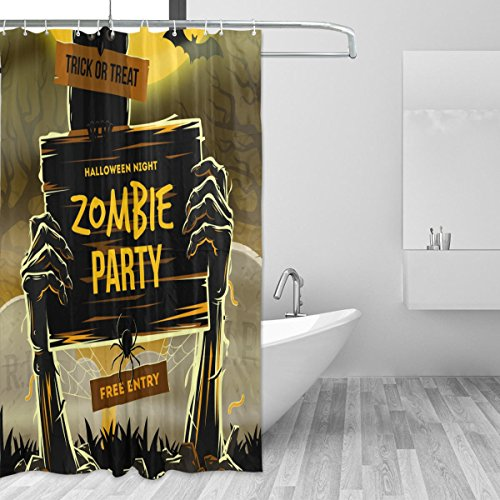 coosun Halloween Zombie Party Vorhang für die Dusche Set Polyester Stoff Wasserabweisend Badezimmer Duschvorhang Set Deko Home mit Haken, 72W X 72L Zoll (Halloween-dusche Vorhang-set)