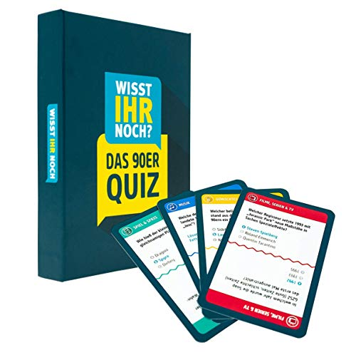 90er Jahre Quiz als Kartenspiel mit 200 Fragen in 4 Kategorien. Ratespaß für Spieleabende, Kneipenquiz, Gesellschaftsspiel ()