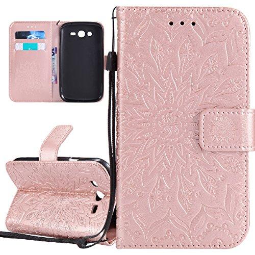 ISAKEN Compatibile con Samsung Galaxy Grand Neo Plus i9060 Custodia[PU Pelle], Libro Flip Cover Portafoglio Case Tinta Unita Caso con Supporto di Stand/Carte Slot/Magnetica - Girasole: Rose Gold