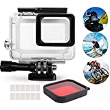 Aoyooh Waterproof Housing For Gopro Hero 2018 7 6 5 Action Camera Protective Case Black With Switchable Red Lens Filter + 12 Pcs Anit Fog Inserts - 45M Underwater Diving