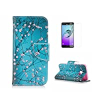 For Samsung Galaxy A3 2017 Case [With Tempered Glass Screen Protector],Fatcatparadise(TM) Anti Scratch Flip Soft Silicone Back Cover Case ,Colorful Cute Pattern Design Flip Magnetic Premium PU Leather Credit Card Folio Holder Wallet Case For Samsung Galaxy A3 2017 (Wintersweet)