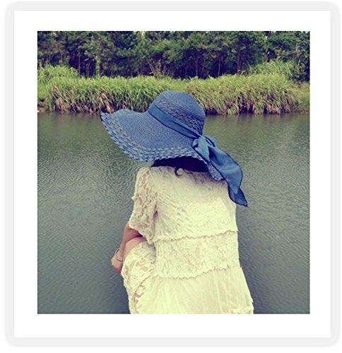 Femme Chapeau De Soleil Chic Chapeaux de paille Chapeau à Larges Bords Chapeau de Plage Chapeau d'été Bleu Saphir