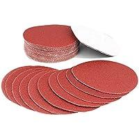 Discos Velcro de Papel de lija, Granulación de 40, 60, 80, 100, 120, 150, 180, 240, 320, 400, 600, 800, 125 mm, 60 piezas