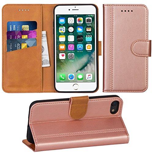 Adicase iPhone 7 Hülle Leder Wallet Tasche Flip Case Handyhülle Schutzhülle für Apple iPhone 7/8 4,7 Zoll (Rose Gold)