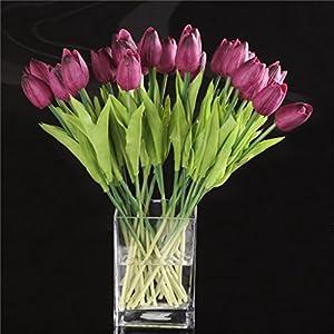 DDG EDMMS – Ramo de flores artificiales de tulipán, flores de seda falsas, para decoración del hogar, boda, morado, 10…