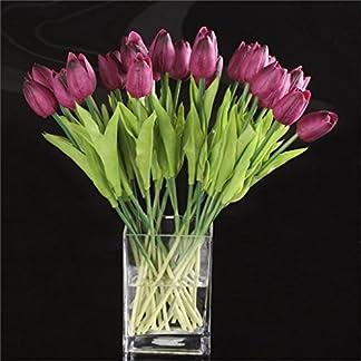 DDG EDMMS – Ramo de Flores Artificiales de tulipán, Flores de Seda Falsas, para decoración del hogar, Boda, Morado, 10 Unidades