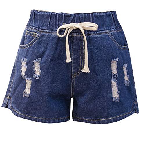 WOZOW Damen Shorts Kurze Hose Jeanshose Denim Zerrissene Destroyed Ripped Distressed Casual Lose Solid Einfarbig Mini Hosen Freizeithose Stoffhose High Waist Trousers Übergröße (4XL,Dunkelblau) -