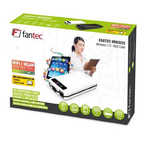 FANTEC MWiD25 Mobile WLAN Festplatte (extern, 500GB, 6,35cm (2,5 Zoll), WLAN, USB3.0, LAN, Akku integriert) schwarz
