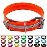 LENNIE BioThane Halsband, Edelstahl-Rollschnalle, 38 mm breit, Größe 45-55 cm, Neon-Orange-Reflex, Reflexstreifen