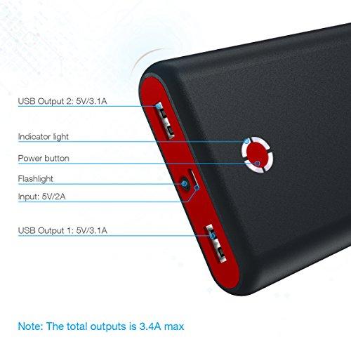 Poweradd Pilot X7 20,000mAh Portable Universal External Power Bank, Red-Black