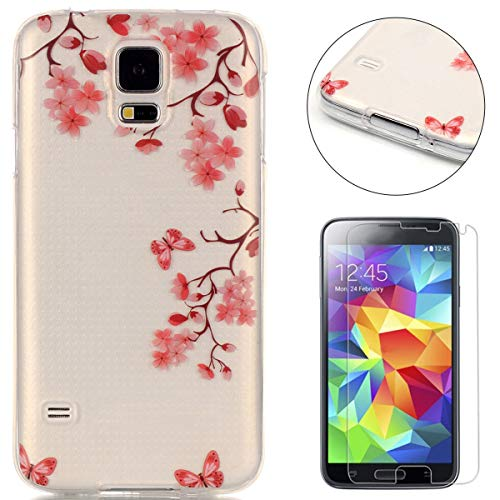 CaseHome Case for Samsung Galaxy S5 Hülle Weiche (with Displayschutzfolie) Flexibel Klar Gel Silikon Stoßfest Durchsichtig mit schönem farbenfrohem Muster-Rosa Blumen-Schmetterling (Harry Potter S5 Fall)