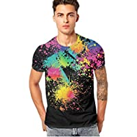 Manadlian Herren T-Shirts mit Blume Aufdruck Lustig Jungs Kurzarm Männer 3D Bunt Sommer Oberteile Abschlag Bluse preisvergleich bei billige-tabletten.eu