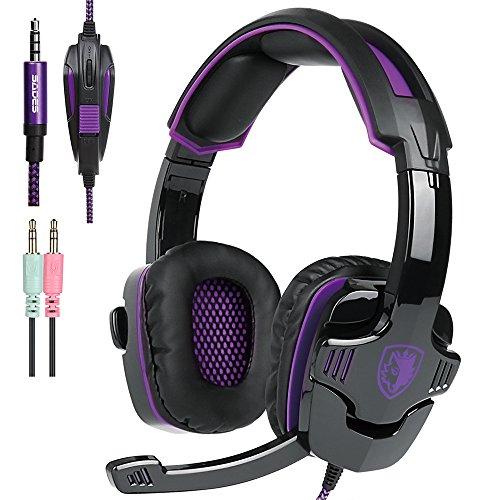 AFUNTA Neue Xbox EIN PS4 Gaming Headset mit Mikrofon-Lautstärkeregler, SADES SA 930 Stereo-Kopfhörer für PC Laptop Mac Tablet Smartphone Schwarz/Violett