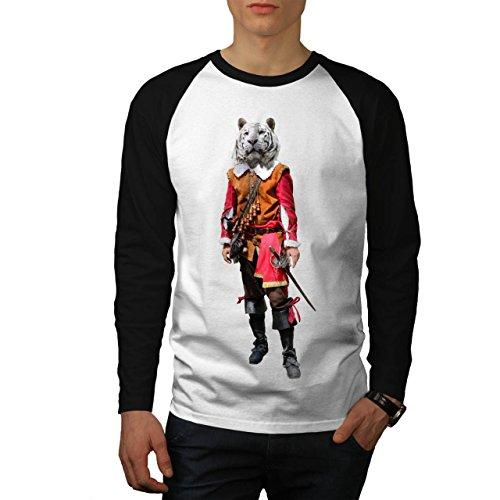 Tiger Ritter Cool Komisch Kostüm Katze Herren M Baseball lange Ärmel T-Shirt | Wellcoda