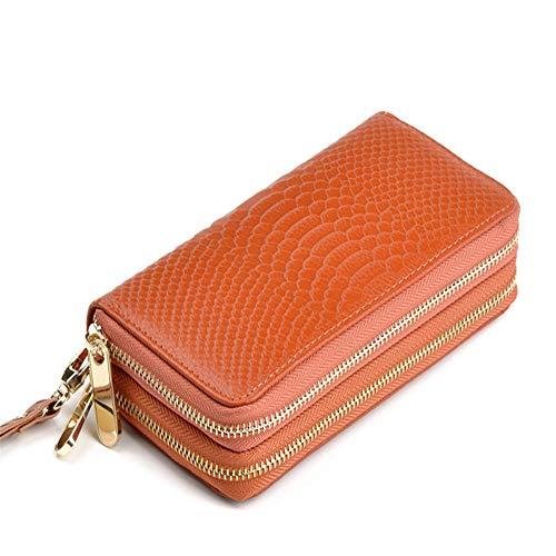 Doppel-brieftasche (DKWBN Damen Lange Brieftasche Doppel-Reißverschluss weibliche Clutch Bag Geldbörse Kartenhalter Wristlet)