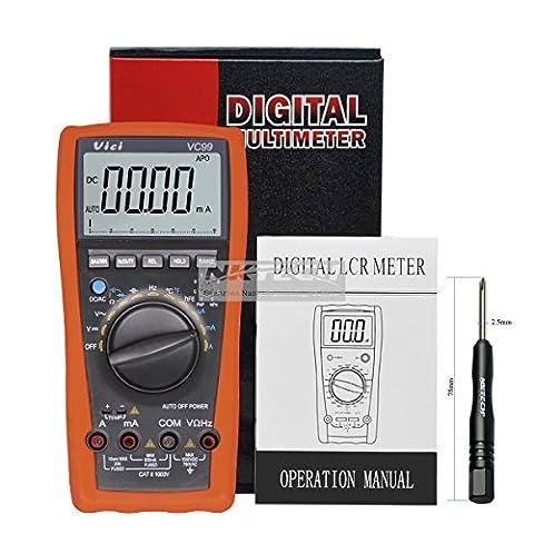 Nktech Vici Vc9936/7LCD manuel Auto multimètre numérique testeur AC DC Tension courant résistance Capacité fréquence Ampèremètre Mètre Ohm analogique Barre Auto Range + Tl-1Tournevis