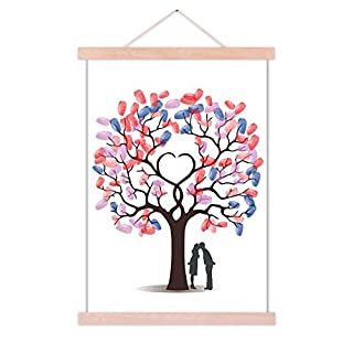 ASENART Wedding Tree Guest Book Fingerprint Signature Canvas Painting Personalised Gift for Anniversary Ready to Hange 50cmX70cm