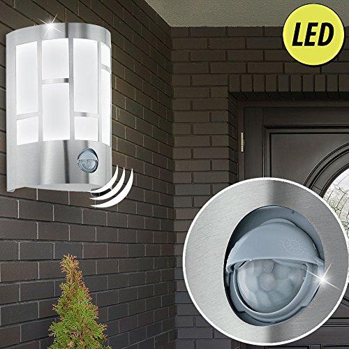Wand Lampe Garten Bewegungs Melder Haus Tür Außen Leuchte Edelstahl im Set inkl. LED Leuchtmittel