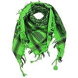 Superfreak® Palituch zweifarbig klassisch°PLO Schal°100x100 cm°Pali Palästinenser Arafat Tuch°100% Baumwolle, Farbe: grün-hell/schwarz