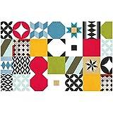 Laroom 14160 - Alfombra vinílica de cocina mosaico baldosas 80 cm, color multicolor