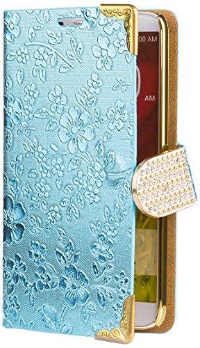 iCues LG G2 Chrom Blume Buch - Türkis - Exklusives Design mit eingelassenen Strass Steinen + Displayschutz