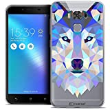 Caseink - Coque Housse Etui pour ASUS Zenfone 3 Max Plus ZC553KL (5.5) [Crystal Gel HD Polygon Series Animal - Souple - Ultra Fin - Imprimé en France] Loup