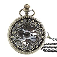 Lekima Pocket Watch Hollow Skeleton Roman Numeral Engraved Flower Sub Dial Clamshell Mechanical Movement Classical Charm Single Alloy Necklace Watch Gift For Men Women - Bronze