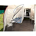 Skandika Camper Tramp Free-Standing Minivan Awning Tent with 2-Berth Sleeping Cabin and 210 cm Peak Height, Sand/Red, 2 Persons 14