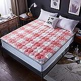 ROHXNK Materasso Tatami Stampato in Velluto di Cristallo Materasso per Letto in Cotone Caldo E Caldo di Alta qualità,Pink-180 * 200cm(70 * 79inch)