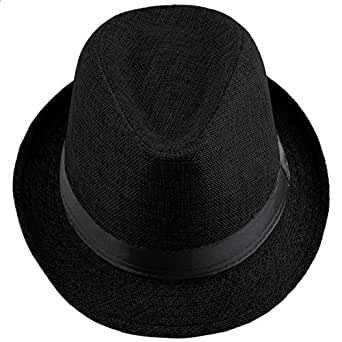 Shanxing Fedora Hats for Men Trilby Hat Panama Style Summer Beach Sun Jazz Cap,Black
