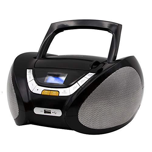 Lauson CP445- Radio CD Portatile, USB, Lettore Cd Bambini, Stereo Radio FM, Boombox, CD/MP3 Player, AUX IN, LCD-Display, Nero