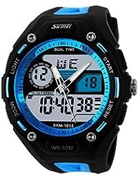 ufengke® coole Mode Dual-Display Outdoor-Sportartenarten Bergsteigen wasserdichte elektronische Armbanduhren für Männer, Studenten stilvolle multifunktionale QuarzArmbanduhren, blau