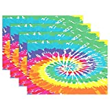 GOODSTHING napperon, Rainbow Tie Dye Placemat Table Mat 12' x 18' Polyester Table...