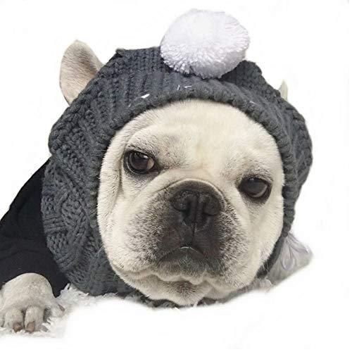 Warme Wintermütze für Hunde mit weihnachtlichem Motiv, süßer modischer Wollmütze, weiß, Bommel, Kopfbedeckung, Kostüm, Zubehör für kleine und mittelgroße Hunde, Französische Bulldogge, grau