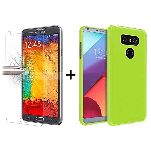 Tboc pack: custodia gel tpu verde + pellicola protettiva per display in vetro temperato per lg g6 h870 (5.7 pollici). silicone flessibile. resistente agli urti e graffi