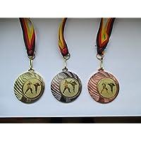 Karate Kampfsport Medaillen 70mm Emblem 50mm mit Deutschland-Band Pokal Turnier Medaillen
