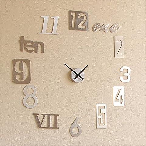 Casa bricolaje decoración Reloj de pared/ Moda Creative 3D pegatinas Reloj de pared, relojes de pared minimalista bricolaje , de aluminio