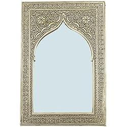 Casa Moro Marrakech Accessoires–Latón Espejo Espejo de Pared Espejo en latón assiya Plata