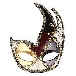 Yanhoo Halloween Maske Herren Maskerade Maske Vintage venezianische Karierte musikalische Party Mardi Gras Maske Halloween Masken Fasching Festival Party Halloween Accessoires Vintage Antiquität Mask