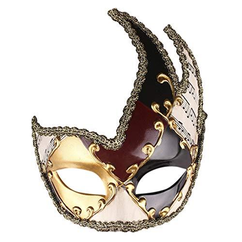Oyedens Halloween Mask Halloween Anti-Albu-Maske Herren Maskerade Maske Vintage Venezianische Karierte Musikalische Party Mardi Gras - Maskerade Kostüm Zum Verkauf