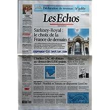 ECHOS (LES) [No 19912] du 04/05/2007 - SARKOZY-ROYAL - LE CHOIX DE LA FRANCE DE DEMAIN - 44,5 MILLIONS D'ELECTEURS ELIRONT DIMANCHE LEUR PRESIDENT POUR CINQ ANS - LES INTERVIEWS DE FRANCOIS HOLLANDE ET DE JEAN-PIERRE RAFFARIN - DU NUCLEAIRE A LA SCOLARISATION DES HANDICAPES - LES FAITS, LES CHIFFRES APRES LA POLEMIQUE - LE GOLF FRANCAIS EN QUETE DE CHAMPIONS - LE SURPLUS COMMERCIAL CHINOIS VA ENCORE S'ENVOLER - ENQUETE - CES FONDS QUI AGREENT LES GROUPES COTES - ENTREPRISES ET MARCH
