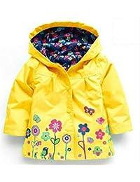 Las niñas lluvia abrigo chaqueta cortavientos capucha verano primavera Mac chubasquero edad 1A 6Años Rosa/Azul/Verde/Morado/Rojo