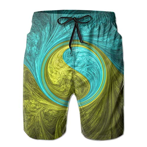 Eastern Spiral Psychedelic Figure Leisure Sport Fitness Quick-Drying Men's Shorts Beach Pants with Pockets Swim Trunks Breathable Sweat Absorption,Size:X-Large M
