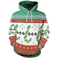 ☺Sweatshirts Hoodies Damen Liebhaber Oberteil Hemd T-Shirt Pullover Locker Sport Premium Kleidung mit Kapuzen Weihnachtsmann Kapuzenpullover Langarmshirt Bluse mit Taschen Frauen Pulli Tops